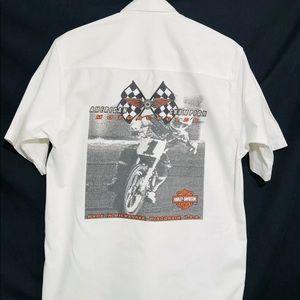 Harley Davidson embroidered shirt M white Cotton
